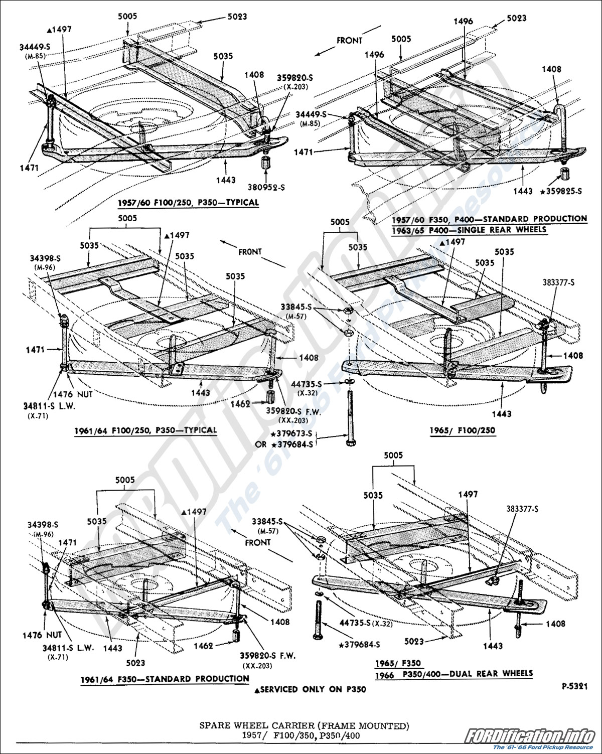 frame & body schematics fordification info the '61 '66 ford F350 Frame Diagram spare wheel carrier (frame mounted) 1957 f100 350, p350 400, ' Ford Ranger Replacement Frame