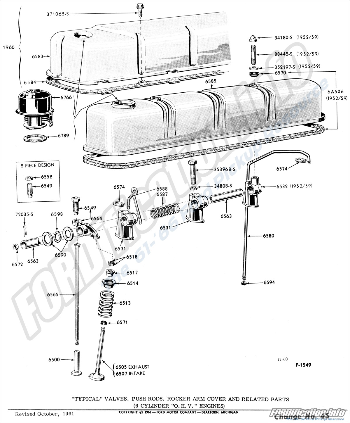 """""""Typical"""" Valves, Push Rods, Rocker Arm Cover and Related Parts (6 cylinder  """"O.H.V."""" Engines, ' ..."""