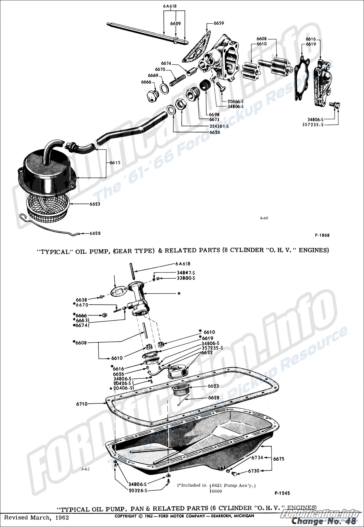 """""""Typical"""" Oil Pump (Gear Type) & Related Parts (8 cylinder """"O.H.V."""" Engines)"""