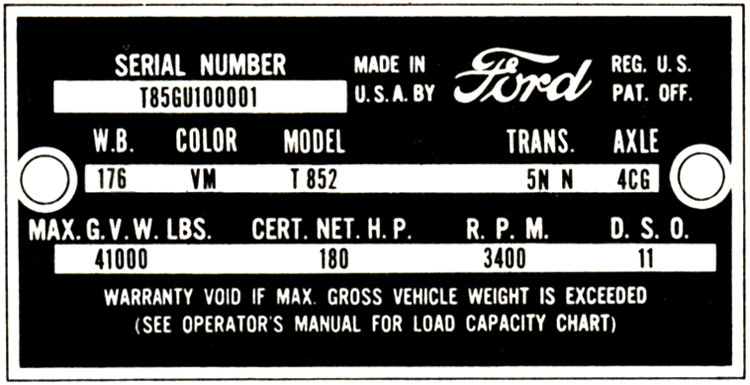 Decode Your 61 62 Ford Truck Vin Tag Fordification Info The 61 66 Ford Pickup Resource