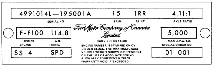 Decode Your '65 Canadian Ford/Mercury Warranty Tag