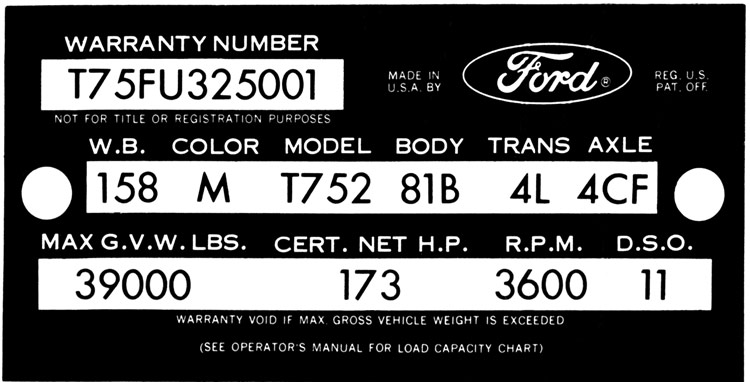 Decode Your 63 64 Ford Truck Vin Tag Fordification Info The 61 66 Ford Pickup Resource