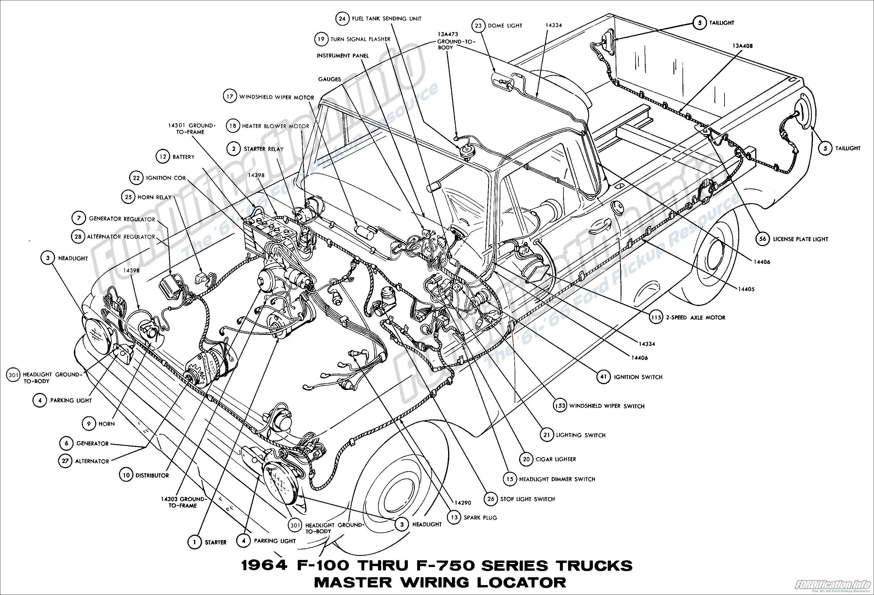 1964 ford truck wiring diagrams fordification info the 61 66 1964 f100 thru f750 series trucks master wiring locator