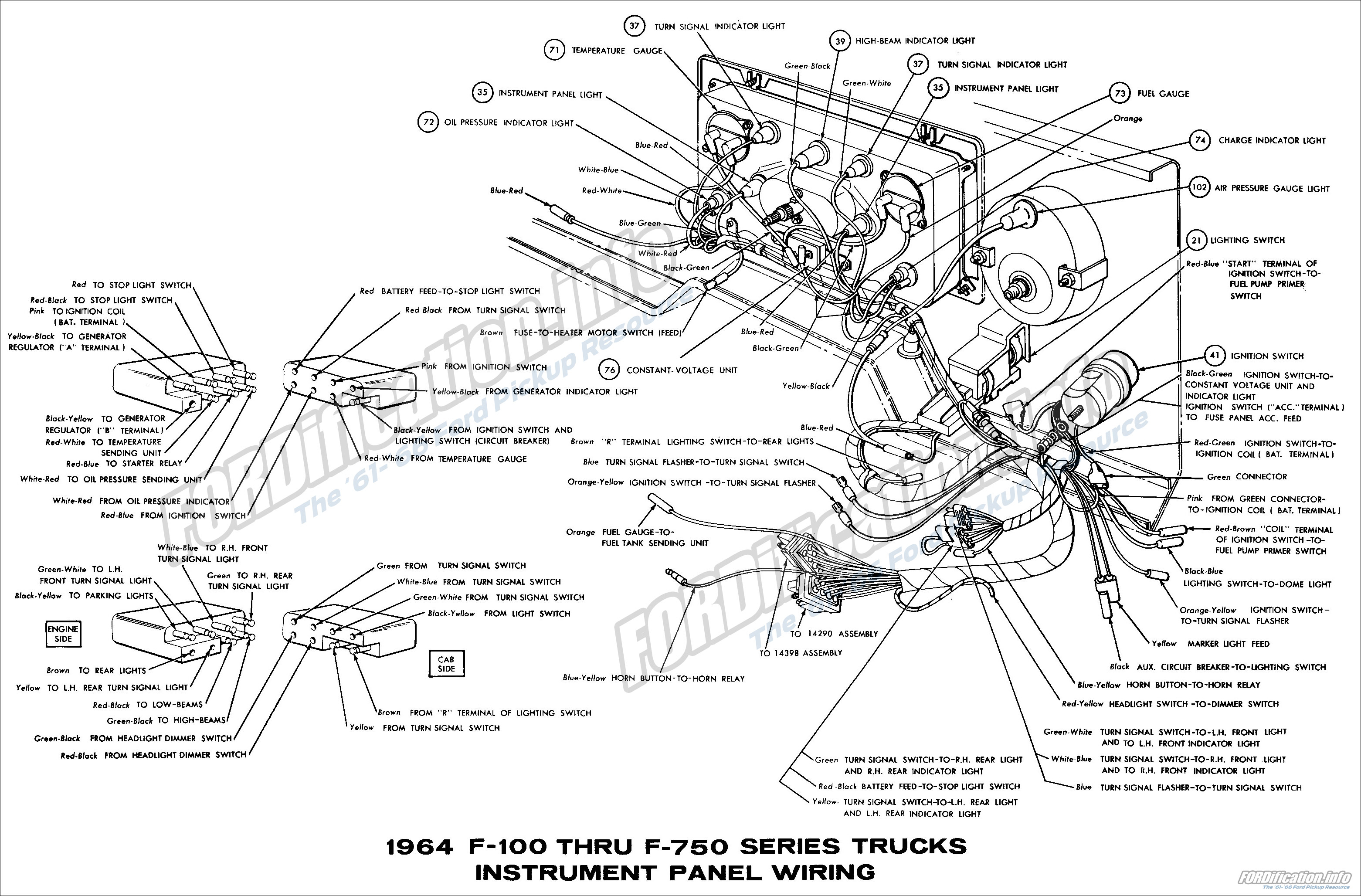 1964 ford truck wiring diagrams fordification info the 61 66 rh  fordification info 1964 ford thunderbird convertible wiring diagram 1964  ford econoline ...
