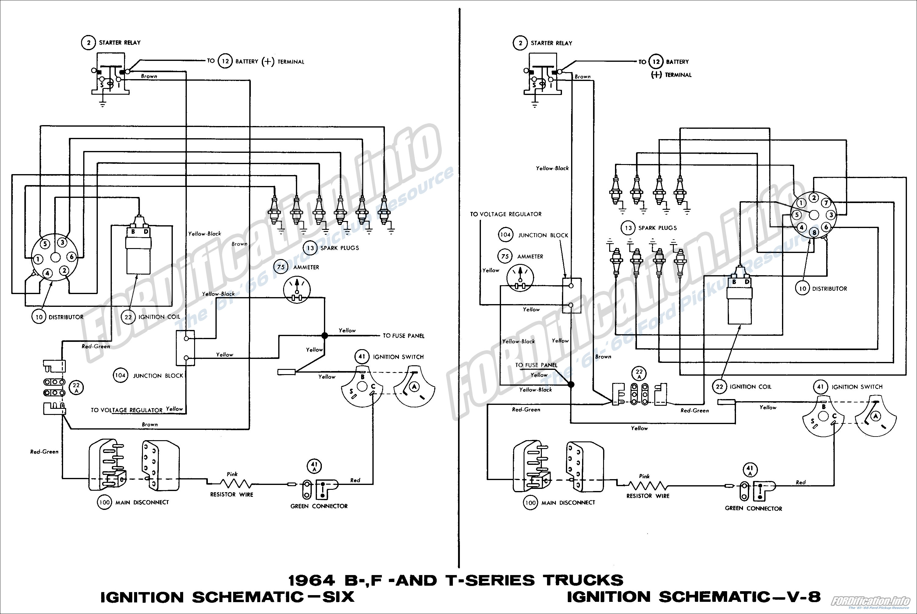 1964 B-, F- and T-series Trucks Ignition Schematics - Six and V8