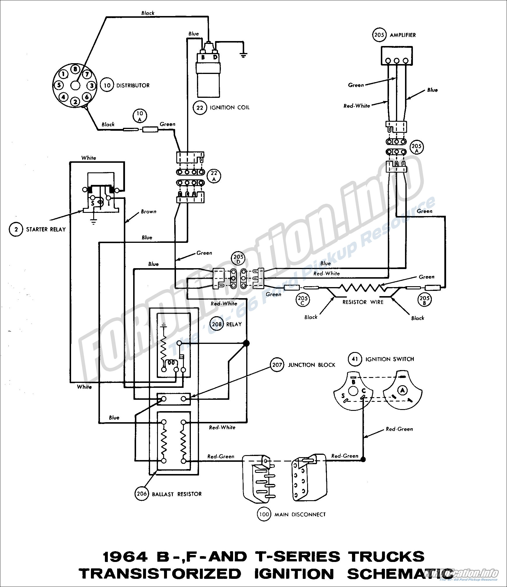 1964 B-, F- and T-series Trucks Transistorized Ignition Schematic