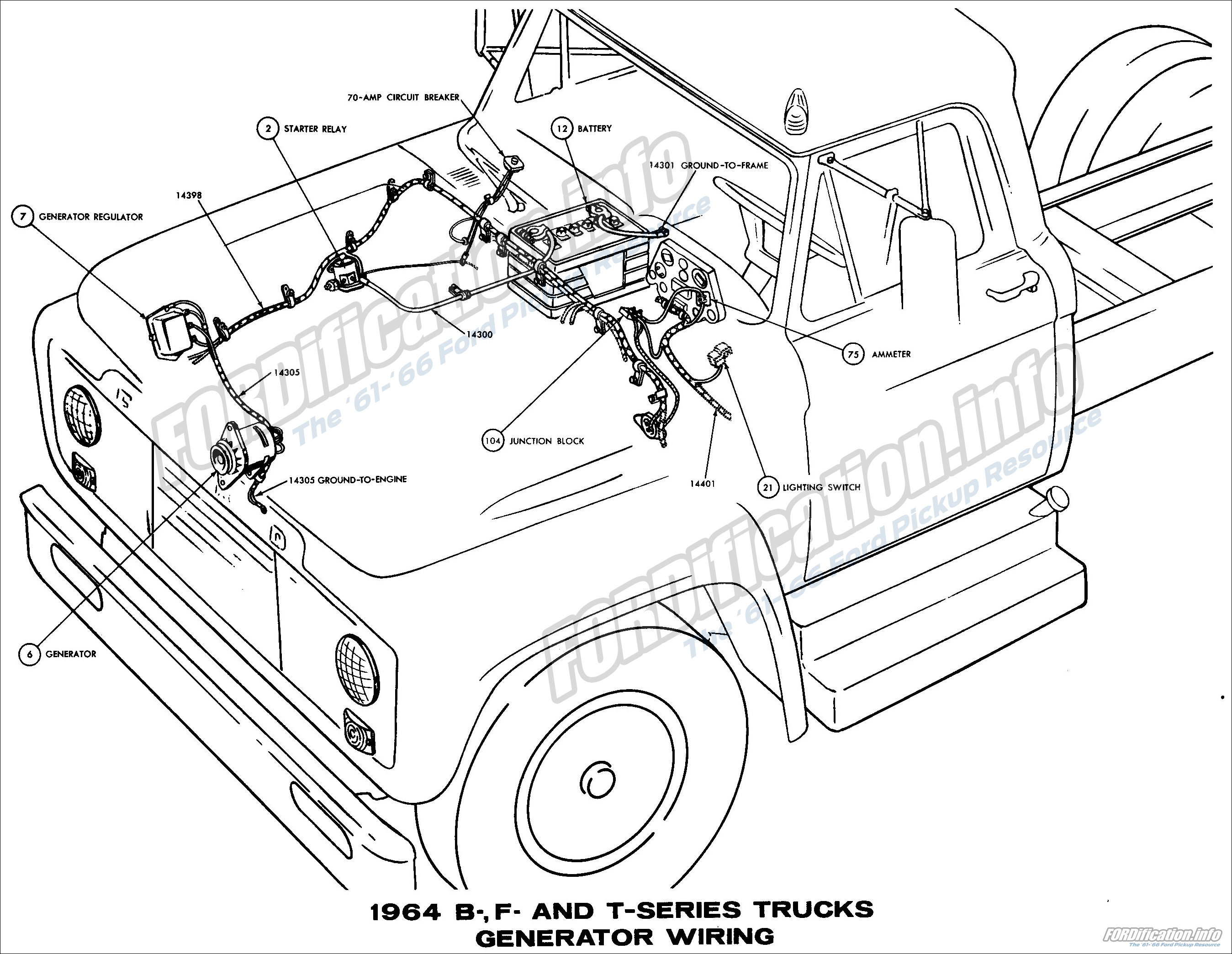 Transistorized Ignition Schematic, 1964 B-, F- and T-series Trucks Generator  Wiring