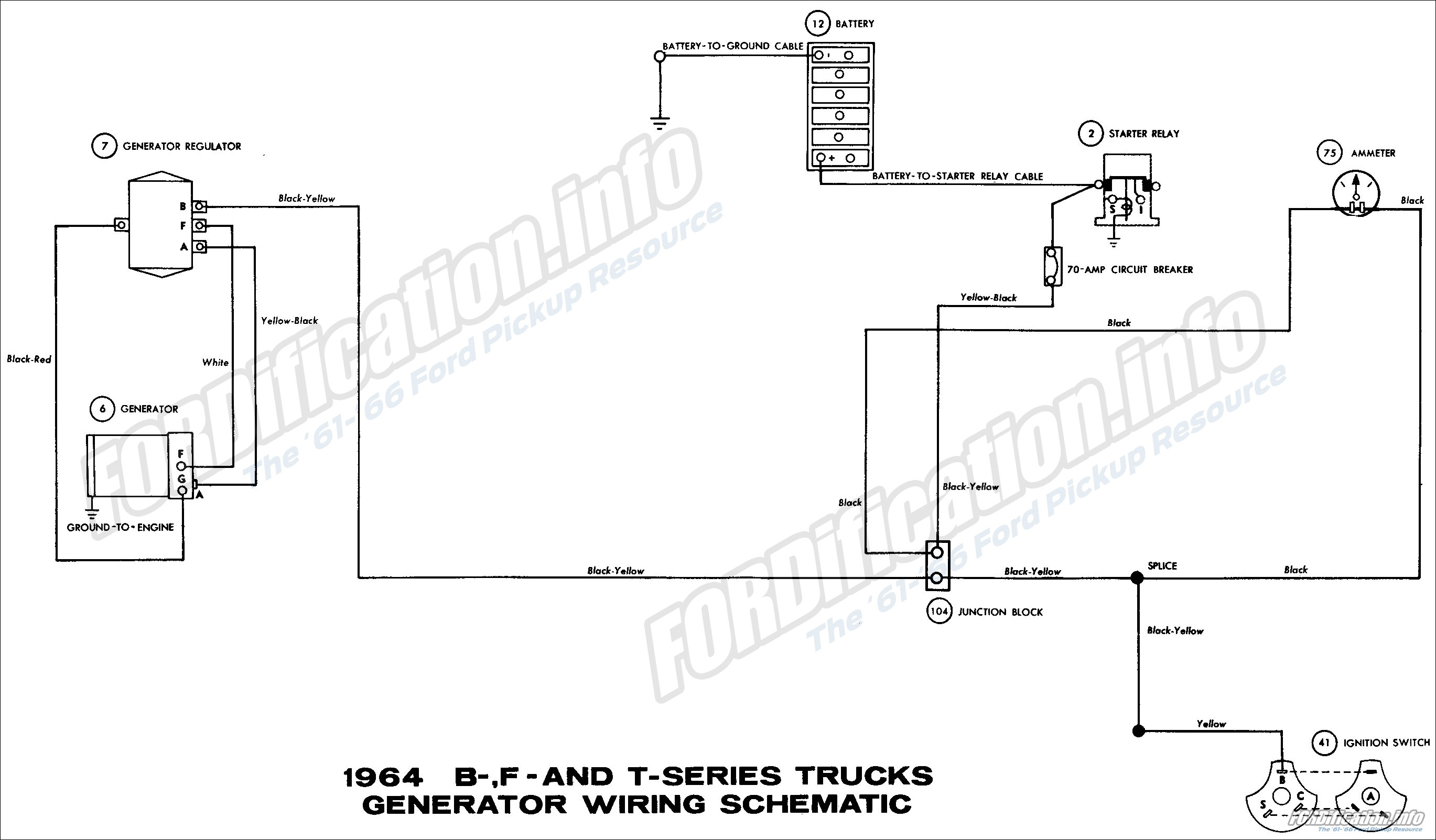 1964 B-, F- and T-series Truck Generator Wiring Schematic