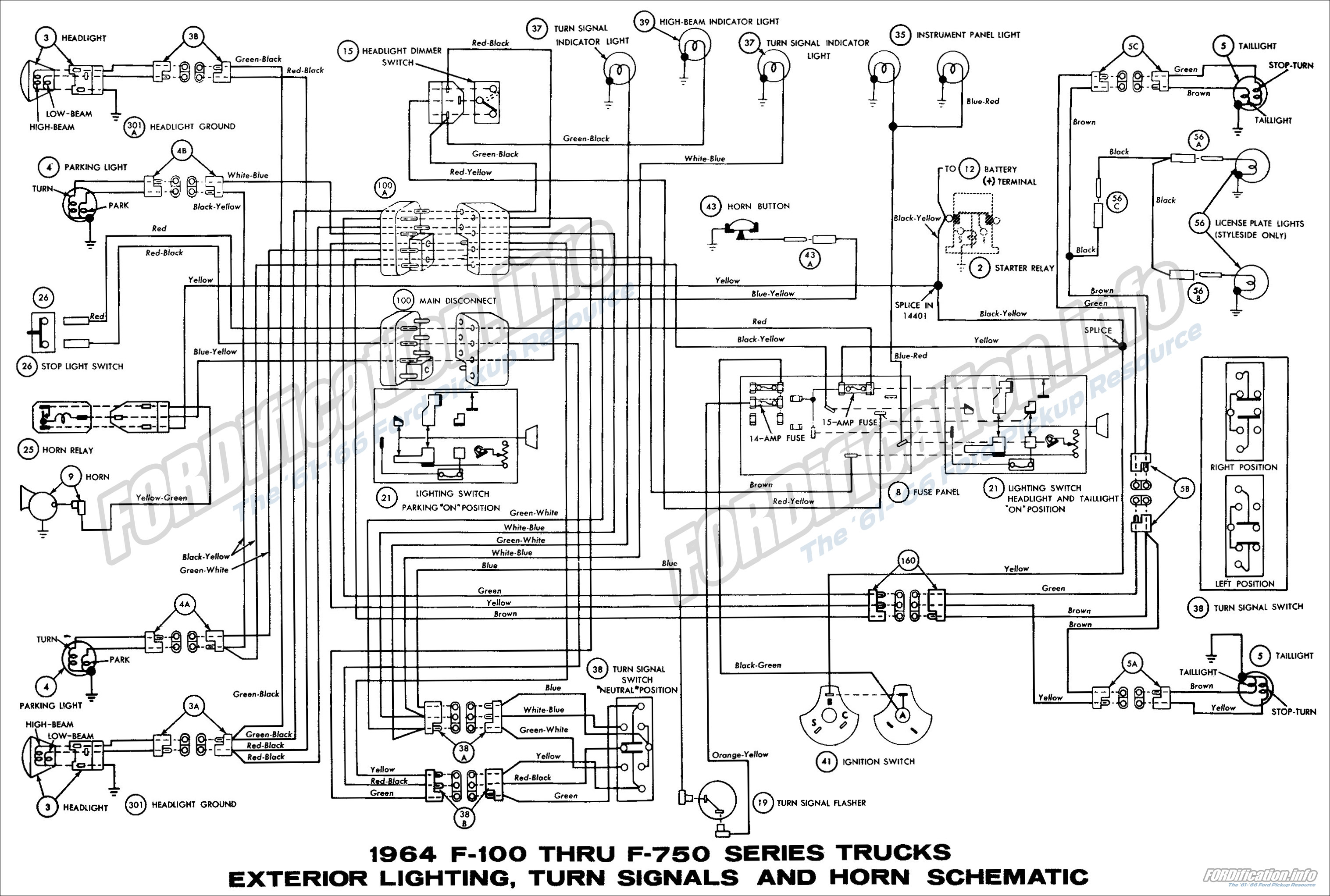 1964 ford truck wiring diagrams fordification info the 61 66 rh fordification info 1964 f100 turn signal wiring diagram 1969 f100 wiring diagram