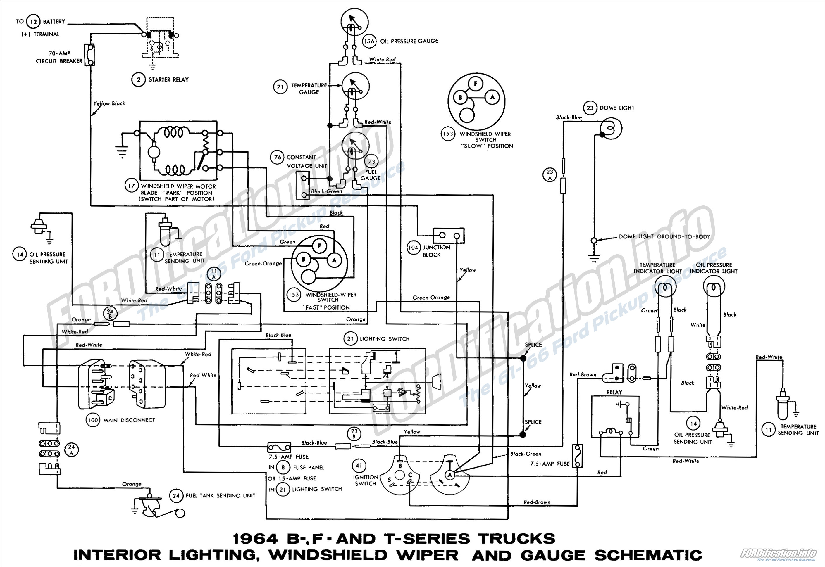 1964 Ford Truck Wiring Diagram Library Econoline Van B F And T Series Trucks Interior Lighting Windshield Wiper Diagrams