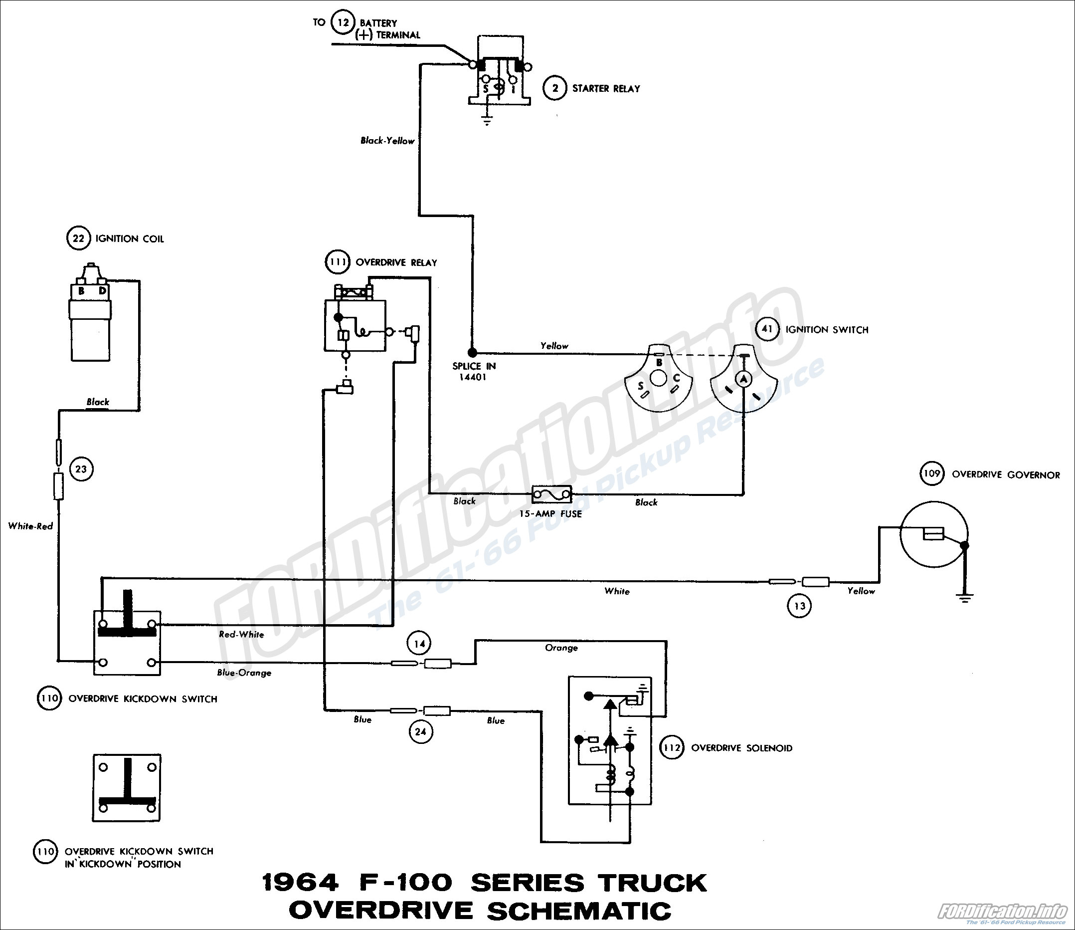 Accessories Schematic, 1964 F-100 Series Truck