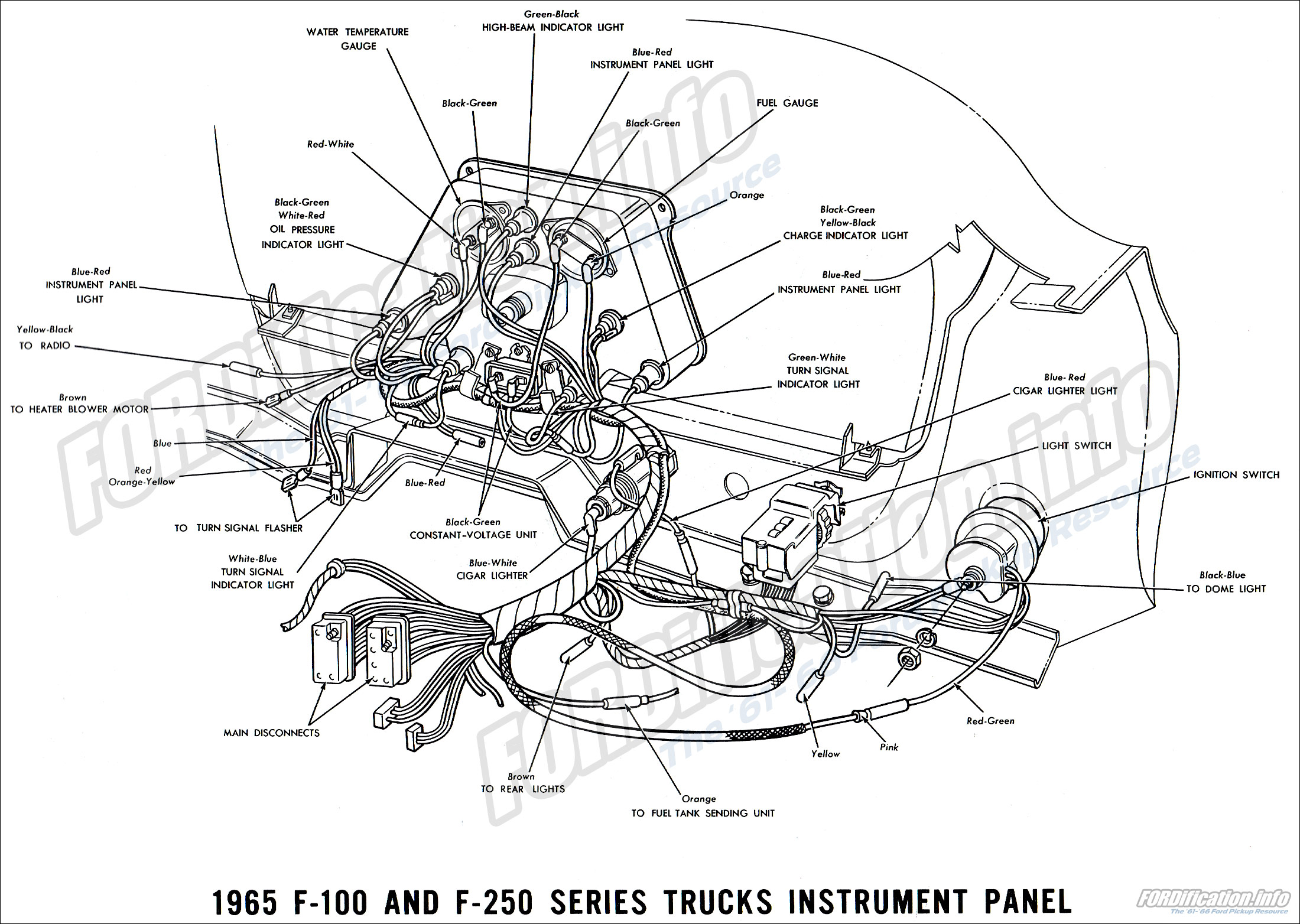 1965 ford truck wiring diagrams fordification info the '61 '66 65 ford f100 parts 1965 f 100 and f 250 series truck instrument panel