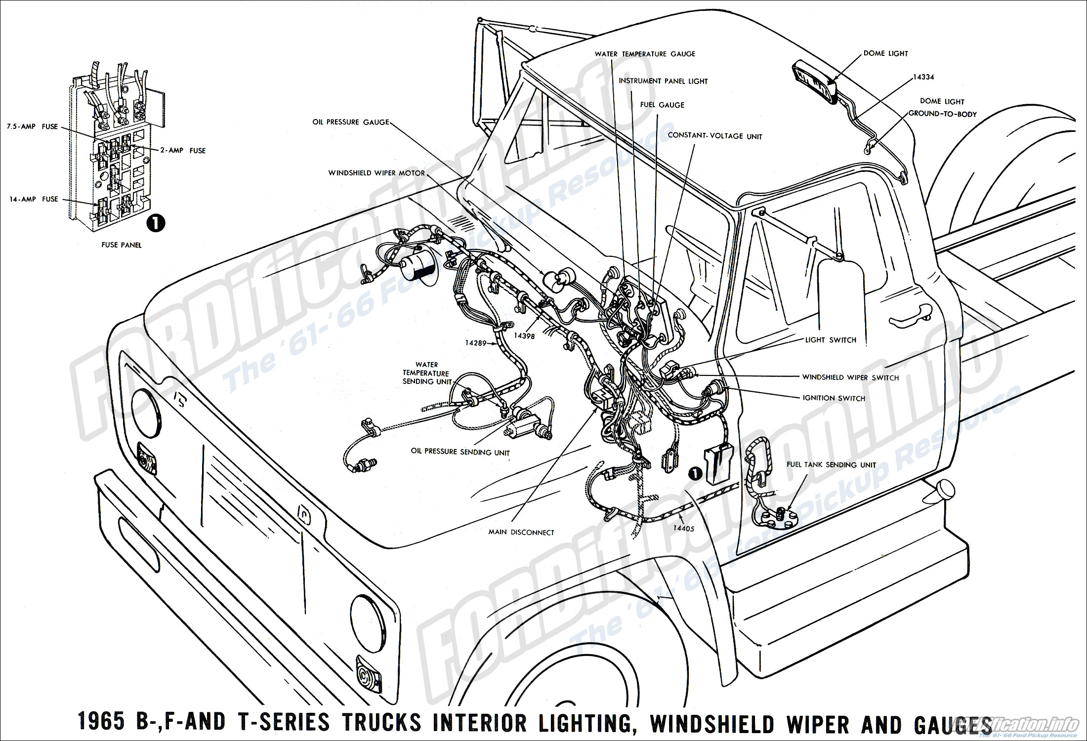 1965 ford truck wiring diagrams fordification info the '61 '66 1966 f-100 wiring harness 1965 b , f and t series truck interior lighting, windshield wiper and gauges