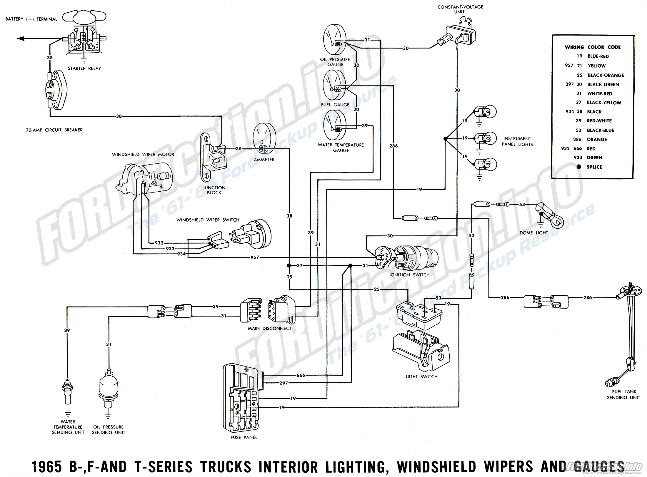 1965 ford truck wiring diagrams fordification info the '61 '66 1969 ford f100 wiring diagram 1965 b , f and t series truck interior lighting, windshield wiper and gauges