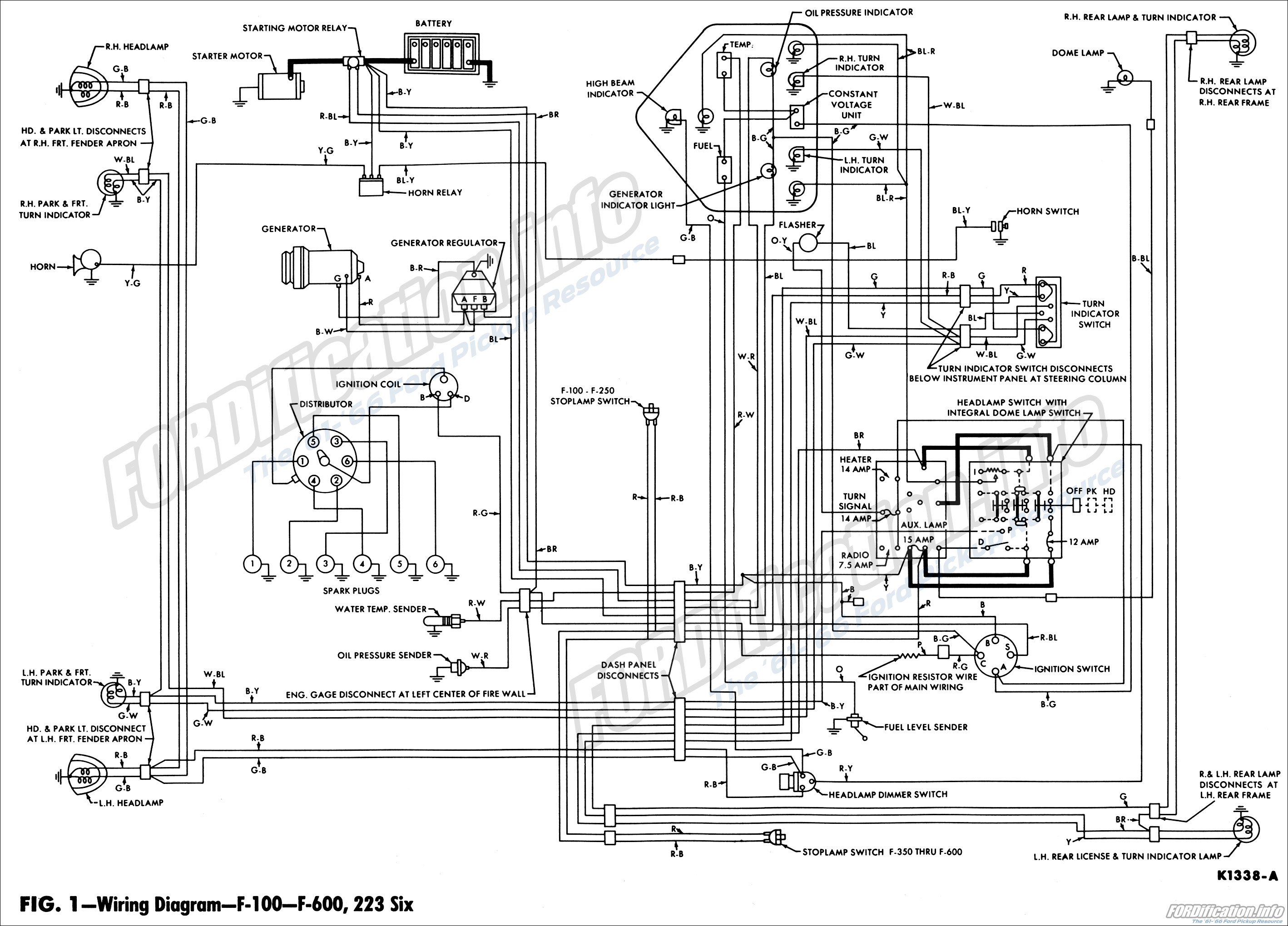 1962 wiring diagram - f100-f600, 223 six engines