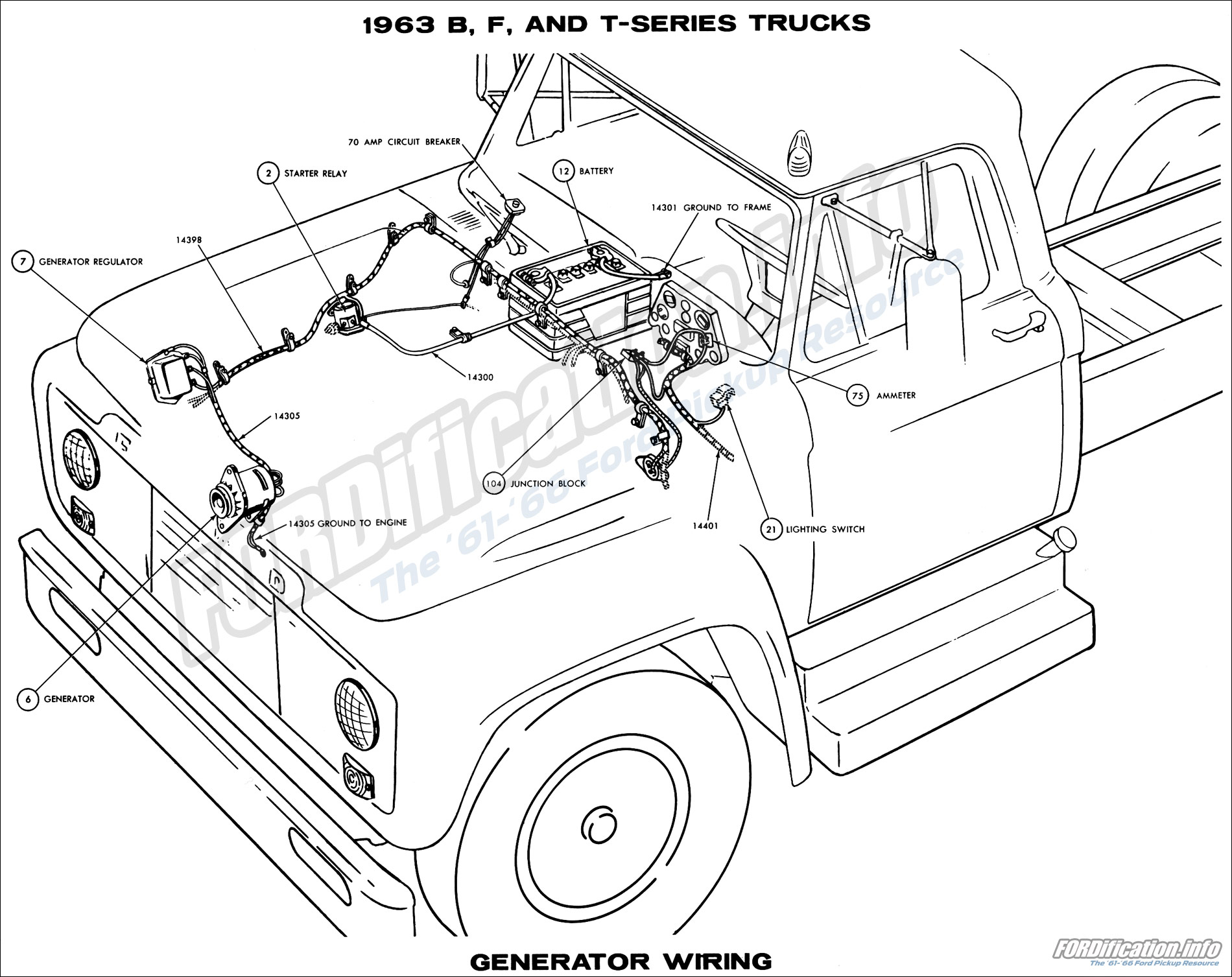 1963 b, f, and t-series trucks generator wiring