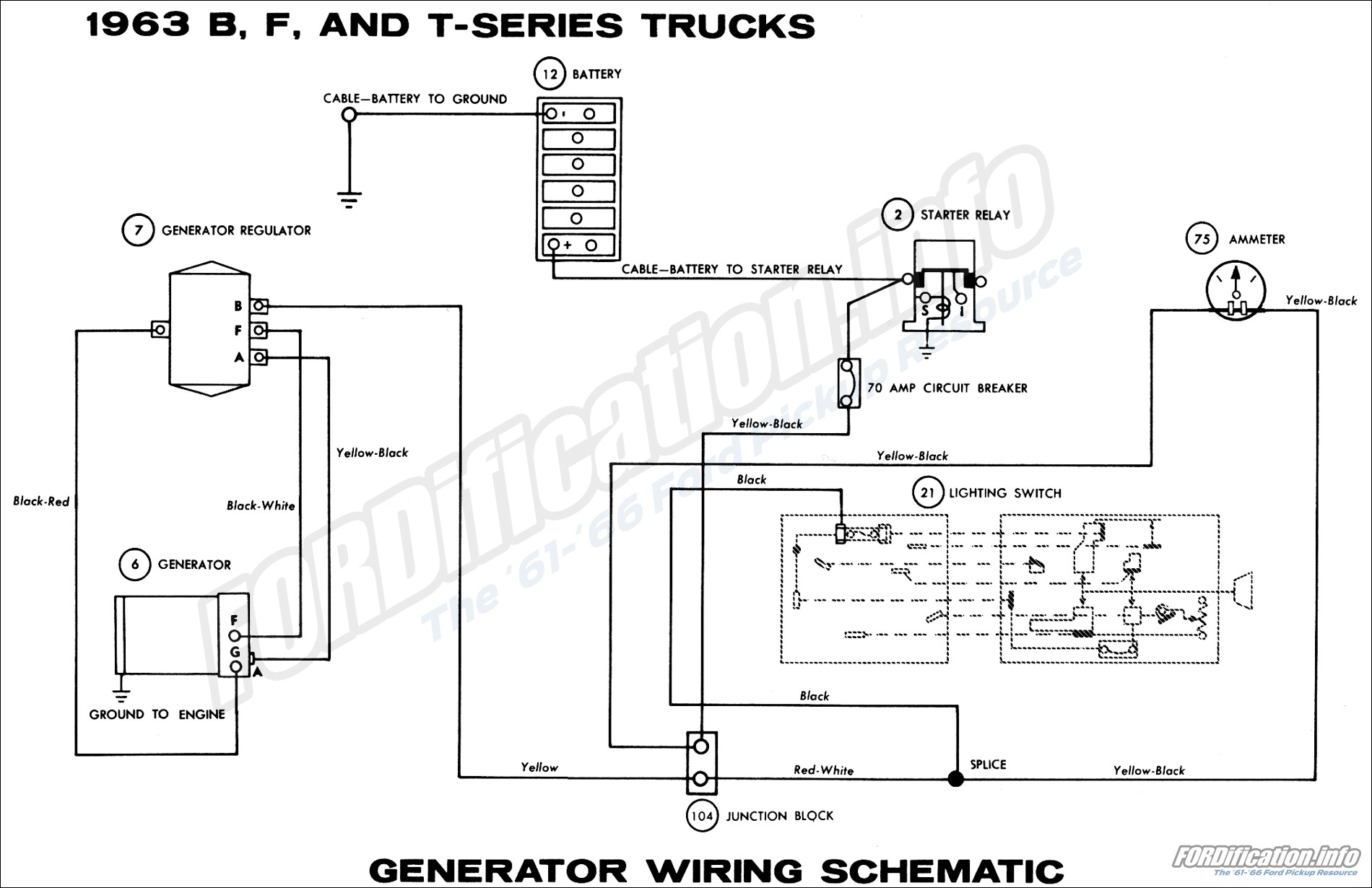 1963 b, f, and t-series trucks generator wiring schematic