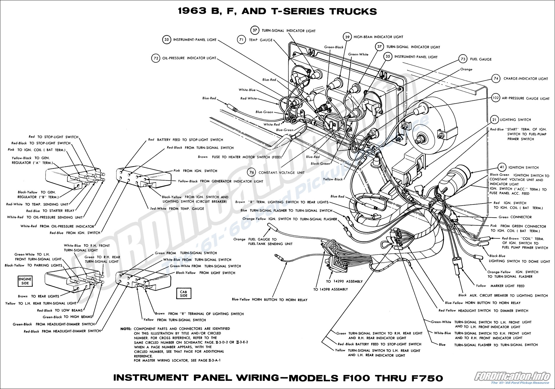 63instrumentpanel 1963 ford truck wiring diagrams fordification info the '61 '66 Ford Truck Wiring Diagrams at crackthecode.co