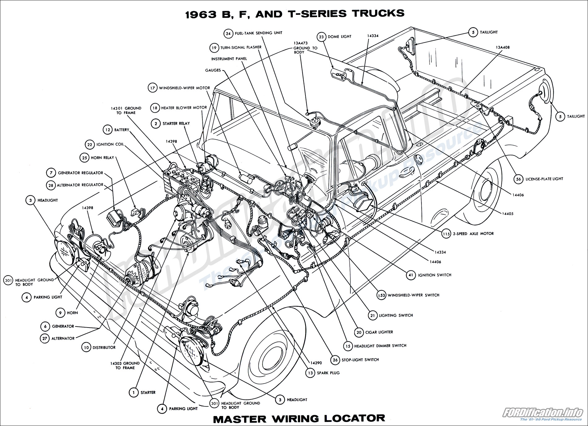 1963 B, F, and T-series Trucks Master Wiring Locator