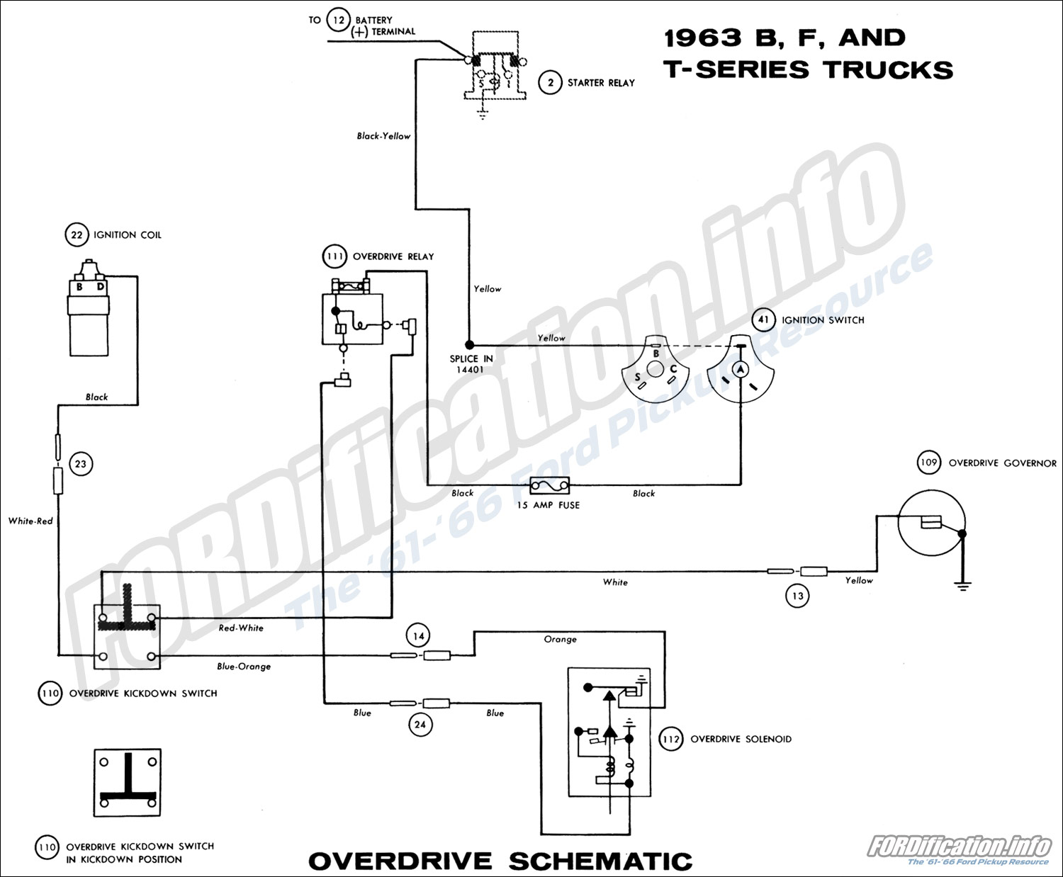 1963 ford truck wiring diagrams fordification info the '61 '66 ford f100 ignition coil wiring 1963 b, f, and t series trucks overdrive schematic