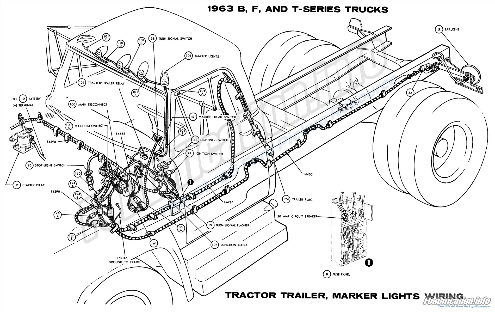 1963 Ford Truck Wiring Diagrams The 61 66 Semi Trailer Light Tractor Marker Lights