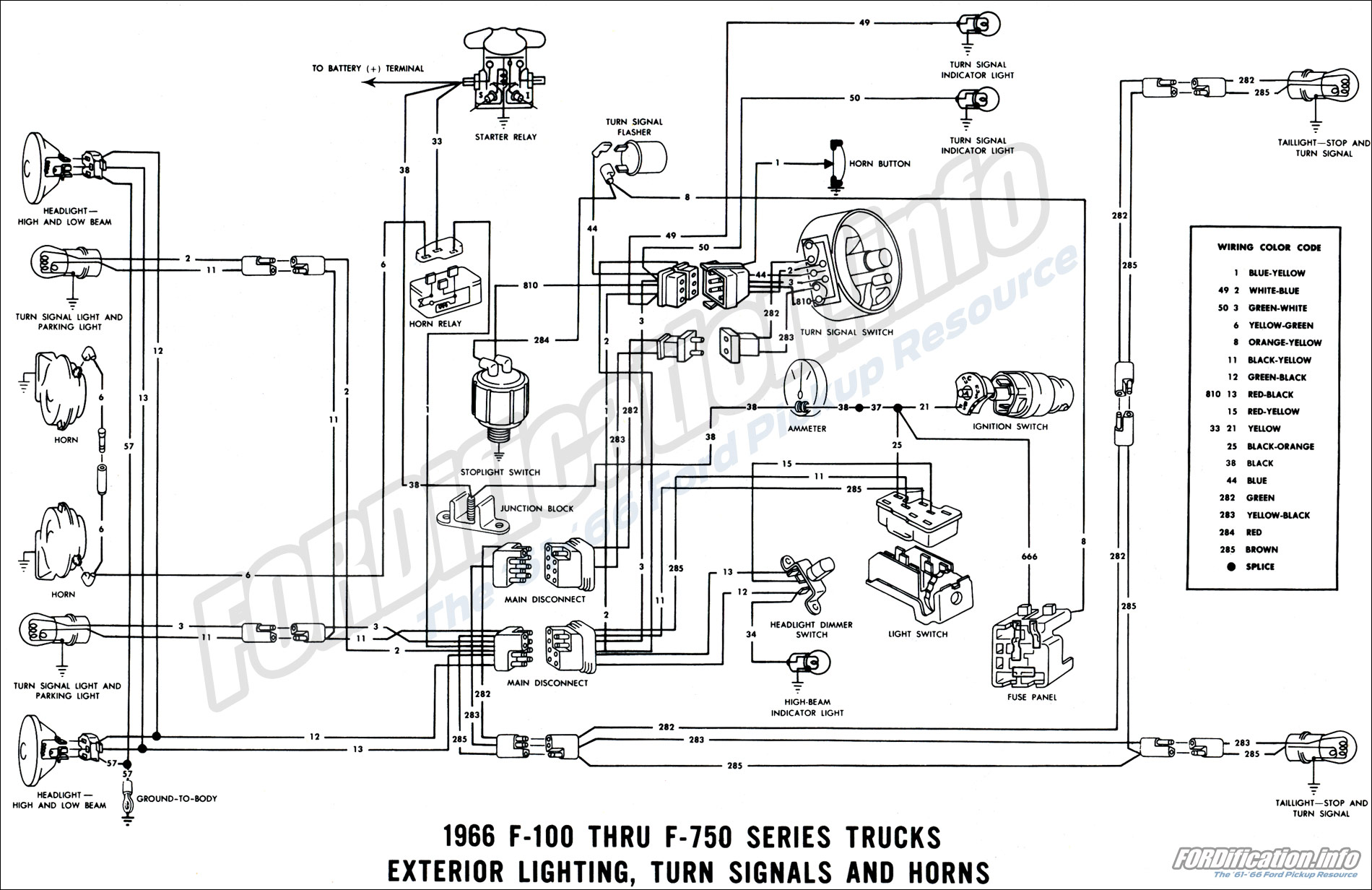 1966 Exterior Lighting Turn Signals And Horns Ford Truck Wiring Diagrams