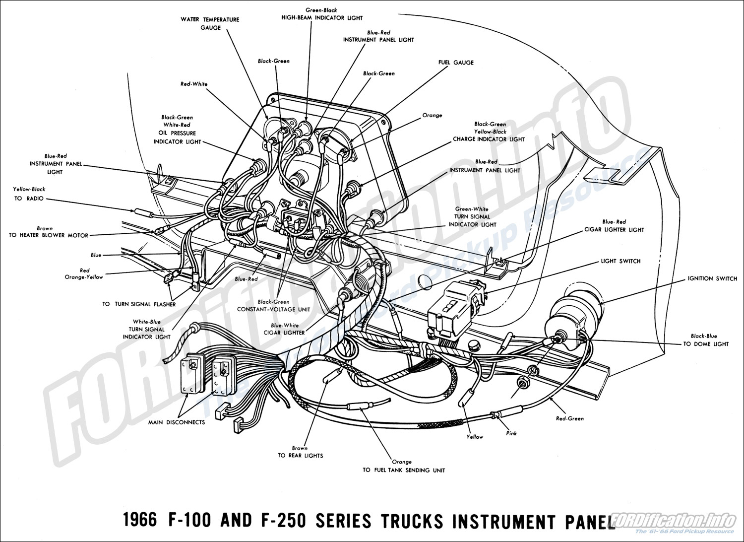 1966 ford truck wiring diagrams fordification info the '61 '66 ford f100 wiring diagrams 1966 f 100 & f 250 instrument panel