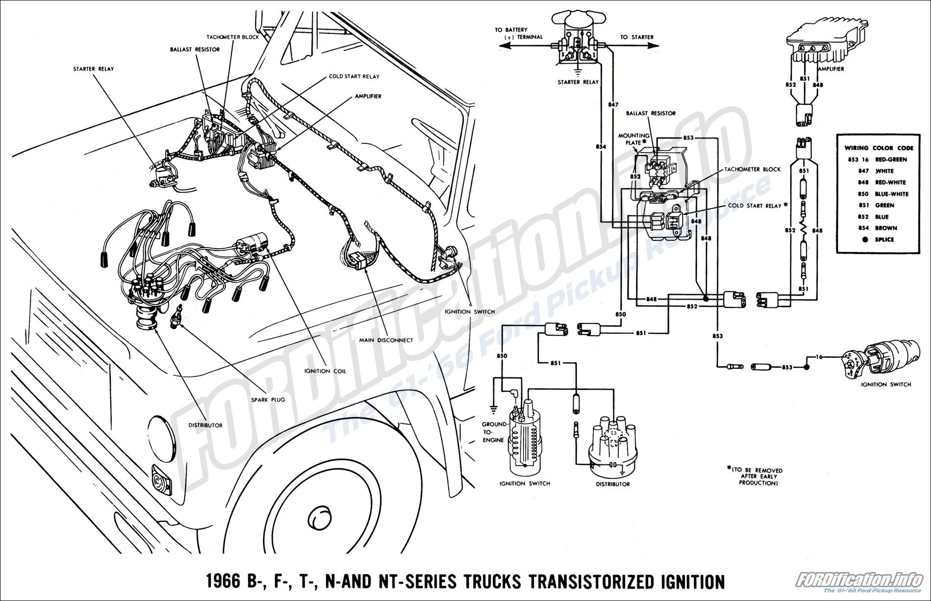 1966 ford truck wiring diagrams fordification info the '61 '66 bulb 1966 ford truck wiring diagram 1966 b , f , t , n and nt series transistorized ignition