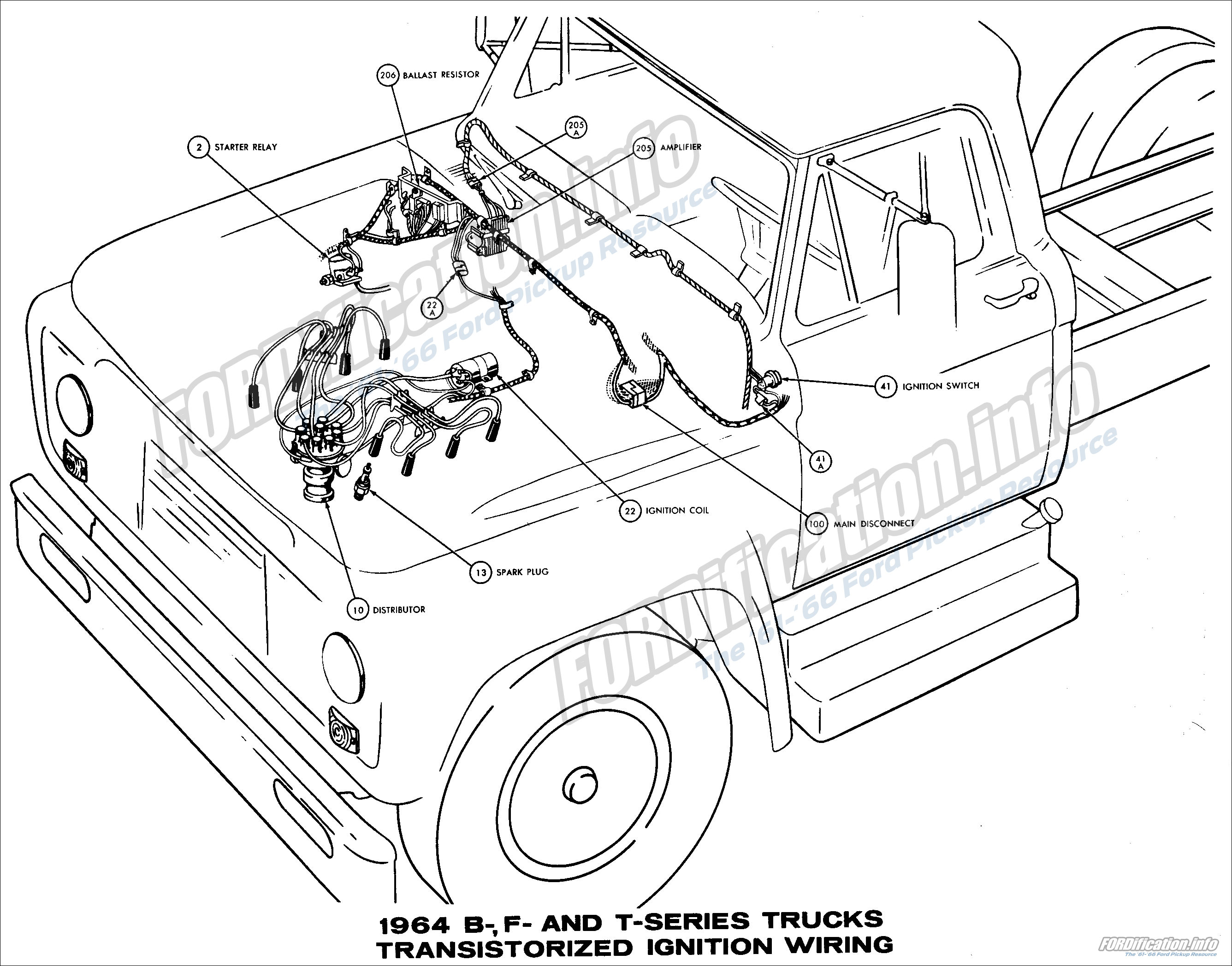 1964 Ford Truck Wiring Diagrams The 61 66 F250 Alternator Diagram B F And T Series Trucks Transistorized Ignition