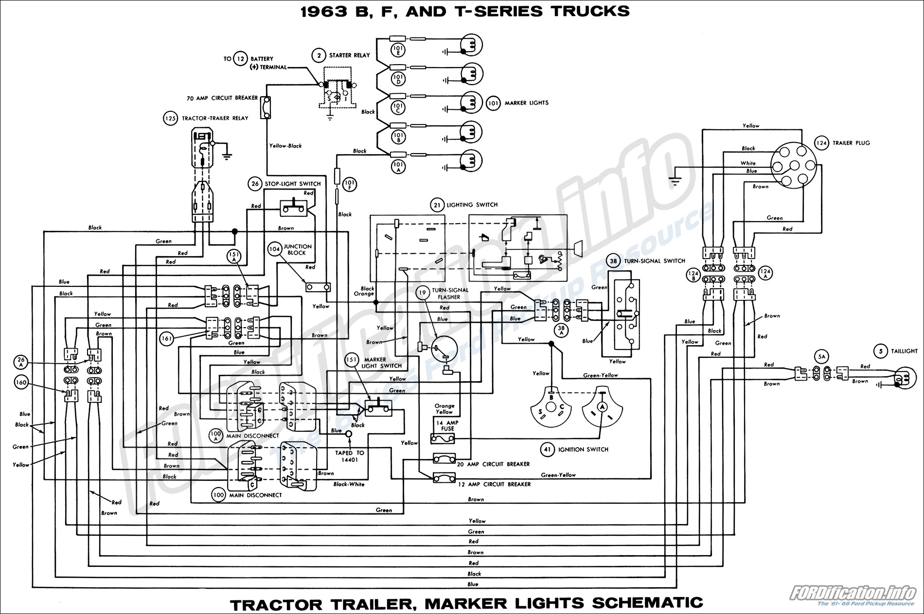 1963 Ford Truck Wiring Diagrams The 61 66 Lights In A Series B F And T Trucks Tractor Trailer Marker Schematic